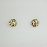 """Oval work"" diamond gold earrings"