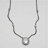 White topaz diamond necklace