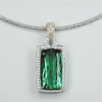 Green tourmaline diamond gold pendant