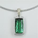 Green tourmaline diamond gold pendant