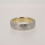 Damascus steel gold band