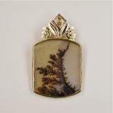 Dendritic agate gold pendant