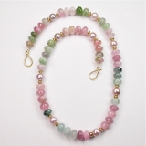 Tourmaline pearl gold necklace