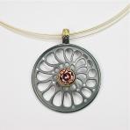 Zircon silver gold pendant
