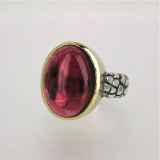 Tourmaline silver gold ring