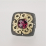 Garnet silver gold ring