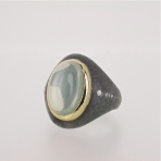 Moonstone silver gold ring