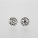 Halo diamond gold earrings