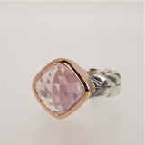 Quartz silver gold ring