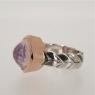 Quartz silver gold ring